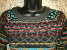 Aztec artsy vibrant color pullover crewneck sweater artsy S soft FOREVER 21 XXI