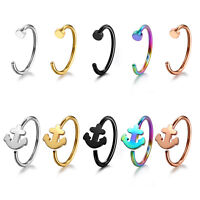 Nose Ring Fake Hoop Silver Gold Black 8mm & 10mm Surgical Steel Thin Piercing