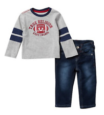 NEW TRUE RELIGION BABY BOYS OUTFIT GIFT SET JEANS LONG SLEEVES TEE T-SHIRT 18M