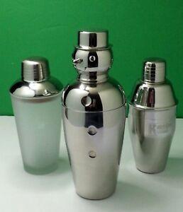 Mix Lot of 3 Cocktail Shaker Snowman Libbey Duratuff USA Glass Steel Drink Mixer