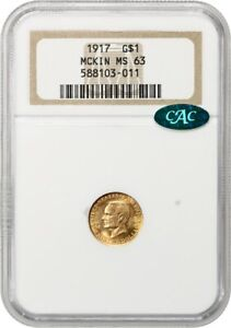1917 McKinley G$1 NGC/CAC MS63 - Classic Commemorative - Gold Coin
