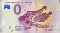 BILLET 0  EURO GRAND AQUARIUM DE TOURAINE  FRANCE  2018  NUMERO 1000