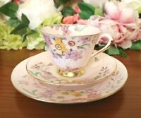 Tuscan Bone China Pale Pink with Hand Painted Floral Tea Set Trio