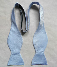 NEW MENS SELF TIE DICKIE BOW SHIMMERY SILVER PALE BLUE ADJUSTABLE BOWTIE BNWOT