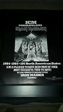 Iron Maiden Rare Original Icm 1984-85 North America Tour Promo Poster Ad Framed!