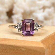 14KT Yellow Gold Rectangle Emerald-Cut Purple Amethyst + Round Diamond Ring 7