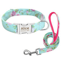 Personalized Floral Dog Collars and Leash Pet Name ID Engraved Metal Buckle S-L