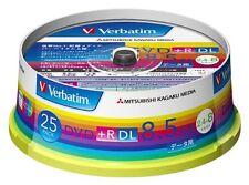 25 Verbatim Blank DVD+R 8.5GB DL DTR85HP25V1
