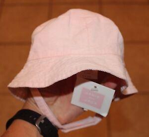NWT Janie & Jack 3 - 6 Months Girls Pink Light Corduroy with Strap Sun Hat