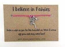 Girls I Believe In Fairies Pink Tie Message Card Wish Bracelet Gift Party Bag