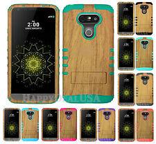 KoolKase Hybrid Soft Silicone Hard Cover Case for LG G5 - Wood Grain Light