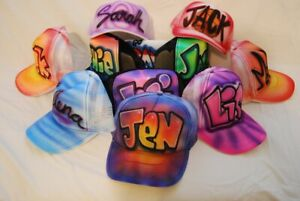 Airbrush Fitted Cap Baseball Canvas Hat With Name Design (Custom Made To Order)