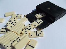 Cuoio-racchiuso Domino Set abilmente realizzato a mano. contea. questo nero lucido