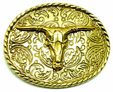 Skull Belt Buckle American Western Bull Rodeo Brass Authentic Baron Buckles