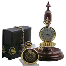 ROYAL ENGINEERS GOLD RE Military POCKET WATCH AND LUXURY WOODEN DISPLAY STAND