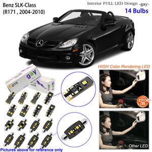 14 Bulbs Deluxe LED Interior Light Kit White For R171 2004-2010 Benz SLK-Class