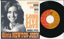 """EUROVISION 1974 45 TOURS 7"""" BELGIUM OLIVIA NEWTON-JOHN LONG LIVE LOVE"""