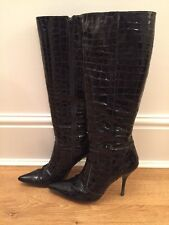 Dune Black Patent Moc Croc Stiletto High Heel Boots - Size 6.5/EU40