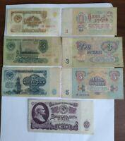 Soviet Banknotes Set Rubles USSR Money USSR lot 1961 7 Banknotes