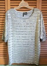 Women's top, New Directions. Grey with sequins. Size Larges