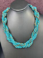 """Vintage Wide Woven Twisted Turquoise Seed Bead Bib Statement Necklace 18"""" Silver"""