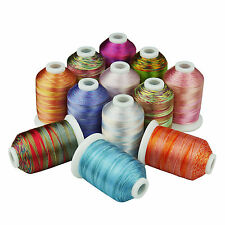 Simthread 40Wt Variegated Multi-colors Polyester EmbroideryThread, 12 Colors/kit