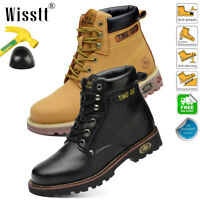 Men's Safety Steel Toe Work Shoes Waterproof Leather Desert Boots Ankle Shoes