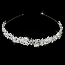 NEW Silver Wedding Bridal Tiara Rhinestone Flower Crystal Crown Pageant Headband
