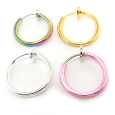 Lip Hoop Clip Silver Goth Ear Nose Ring Rings Fake Body Jewelry Cheater Earring