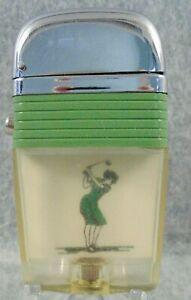 """Vintage Green Band Scripto Vu Windproof Lighter """"Woman Golfer"""" NICE LQQK"""