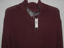 NEW WP Weatherproof Mock Turtleneck Button L/S Burgundy Knit Sweater Mens Large