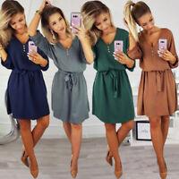 Women Long Sleeve Ladies Casual Party Mini Dress Summer Loose Shirt Dress Top UK