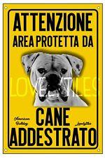 AMERICAN BULLDOG AREA PROTETTA TARGA ATTENTI AL CANE CARTELLO PVC GIALLO