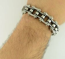 "8.5"" Black Silver Stainless Steel Bracelet 3/4 Inch Wide Heavy Metal Motorcycle"