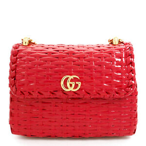 Pre-owned Gucci 524829 001998 GG Marmont Shoulder Bag Red Straw Free Shipping