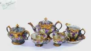 1930's Japanese Hand Painted Nippon Teapot Cup & Saucer 6 Pieces Tea Set AS IS
