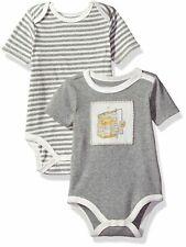 Burt's Bees Baby Newborn 2-Pack Organic Grey and Striped Bodysuit Set 0-3M