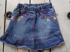 Jupe jeans courte bleue brodée fleurs rose fuchsia et jaune Taille 4 Ans