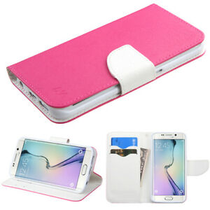 For G925 Galaxy S6 Edge Hot Pink Pattern/White Liner MyJacket wallet +card slot