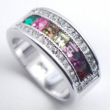 SIZE 11 New Lady Morganite Emerald Amethys Pink Topaz lab Sterling 925 Fill Ring