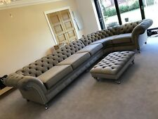 BESPOKE HANDMADE CHESTERFIELD VELVET CORNER SOFA SUITE, AVALIABLE IN 52 FABRICS