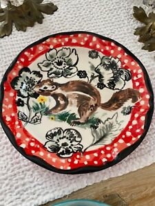 "Anthropologie Nathalie Lete Squirrel Red Polka Dot 10 1/4"" Dinner Plate"