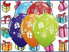 "11"" presents & stars Assorted Latex Helium Balloons Christmas Party Qualatex"
