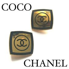 CHANEL LOGO DOUBLE C GOLD & BLACK VINTAGE EARRINGS