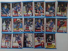 1989-90 O-Pee-Chee OPC New York Rangers Team Set of 17 Hockey Cards