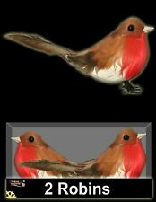 2 Artificial Xmas Feather Bird Wired Robin Tree Decoration Advent Craft Ornament