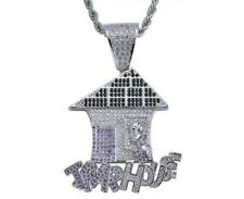 Black Onyx, White CZ & Purple Sapphire Amazing Trap House Men's Hip-Hop Pendant