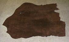 (RWE7423) Hide of Brown Perforated Cow Suede Leather Hide Skin