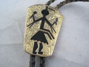 "Tribal Native Dancer Gold Tone Bolo Necktie - Black 36"" Leather Cord"