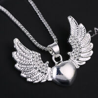 Vintage 925 Silver Heart Angel Wing Charm Pendant Women Jewelry Necklace